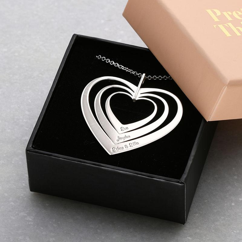 Hjerteformet familiehalskæde med navne i sølv - 4