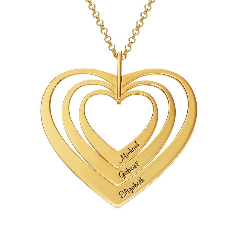 Hjerteformet familiehalskæde med navne i forgyldt sølv