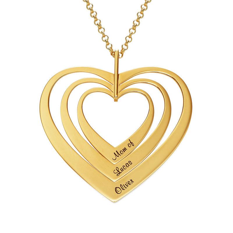 Hjerteformet familiehalskæde med navne i forgyldt sølv - 1