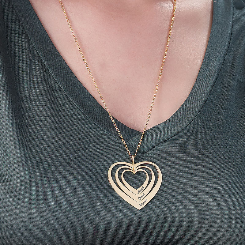 Hjerteformet familiehalskæde med navne i forgyldt sølv - 3