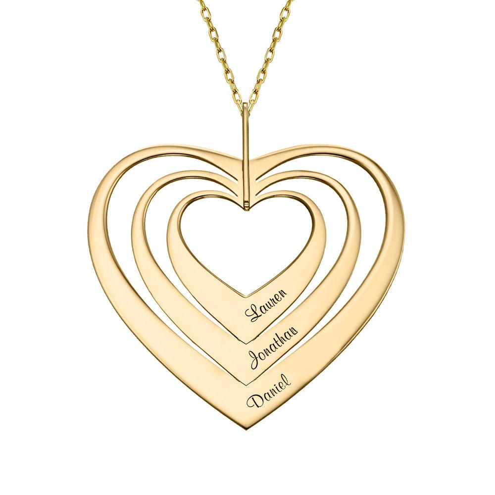 Hjerteformet familiehalskæde med navne i 10 karat guld