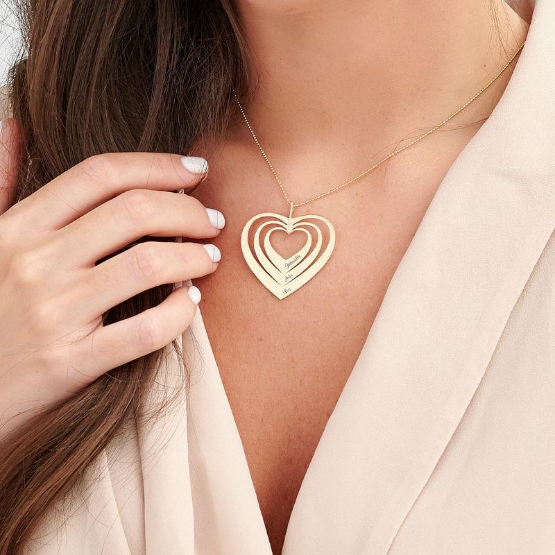 Hjerteformet familiehalskæde med navne i 10 karat guld - 2