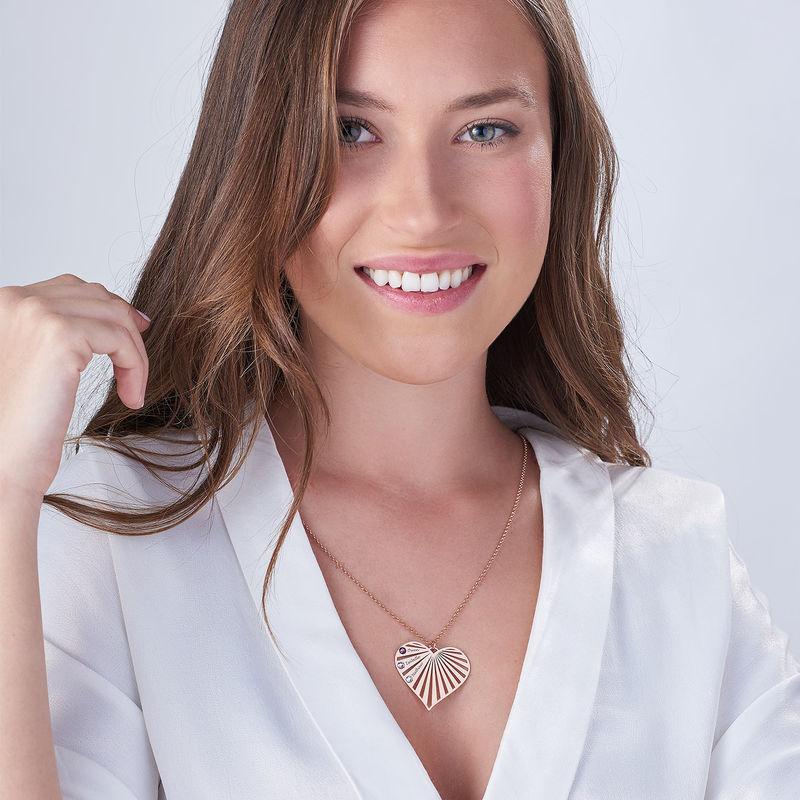 Familie halskæde med månedssten i rosaforgyldt sølv - 3