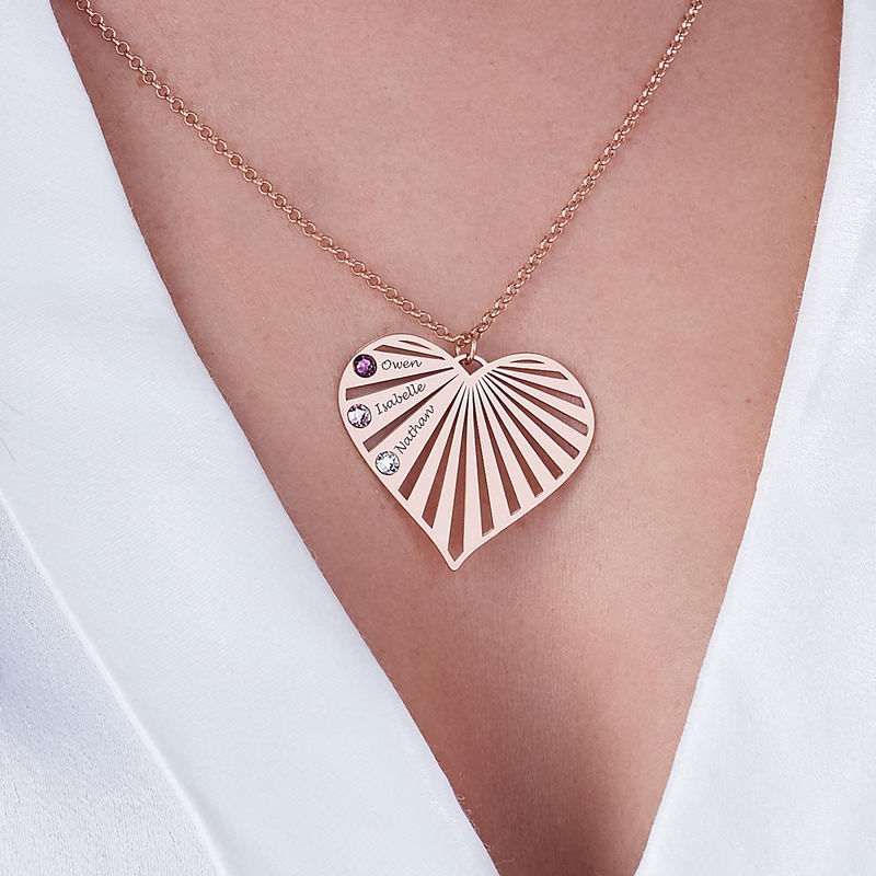 Familie halskæde med månedssten i rosaforgyldt sølv - 4