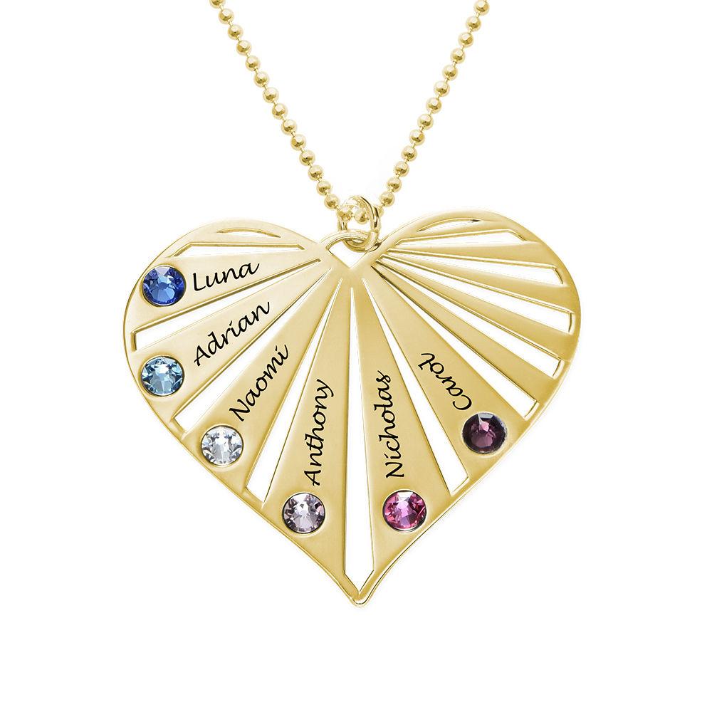 Familie halskæde med månedssten i 10 karat guld