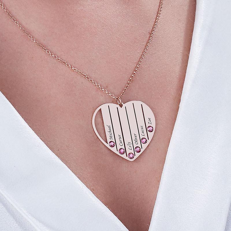 Mor Halskæde med Månedssten i rosaforgyldt sølv - 5