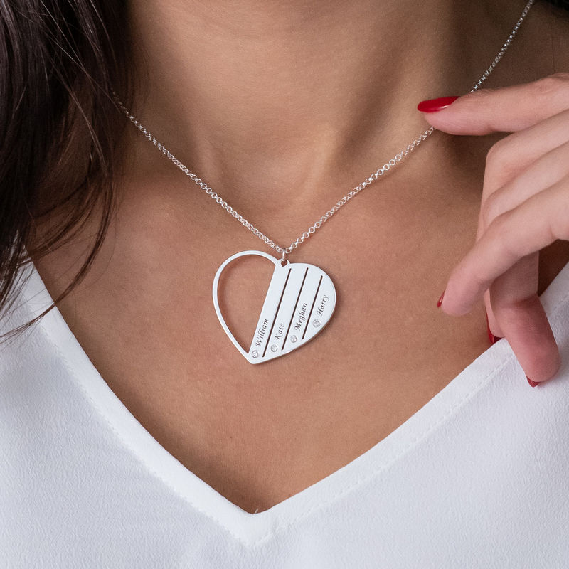 Mor-halskæde med diamanter i sterlingsølv - 3