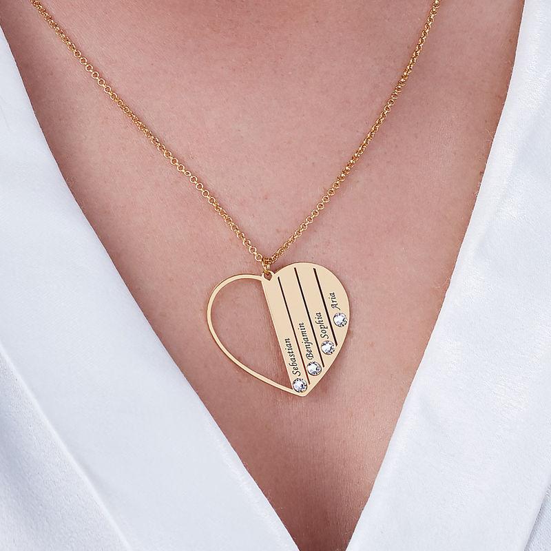 Mor halskæde med månedssten i guld vermeil - 5