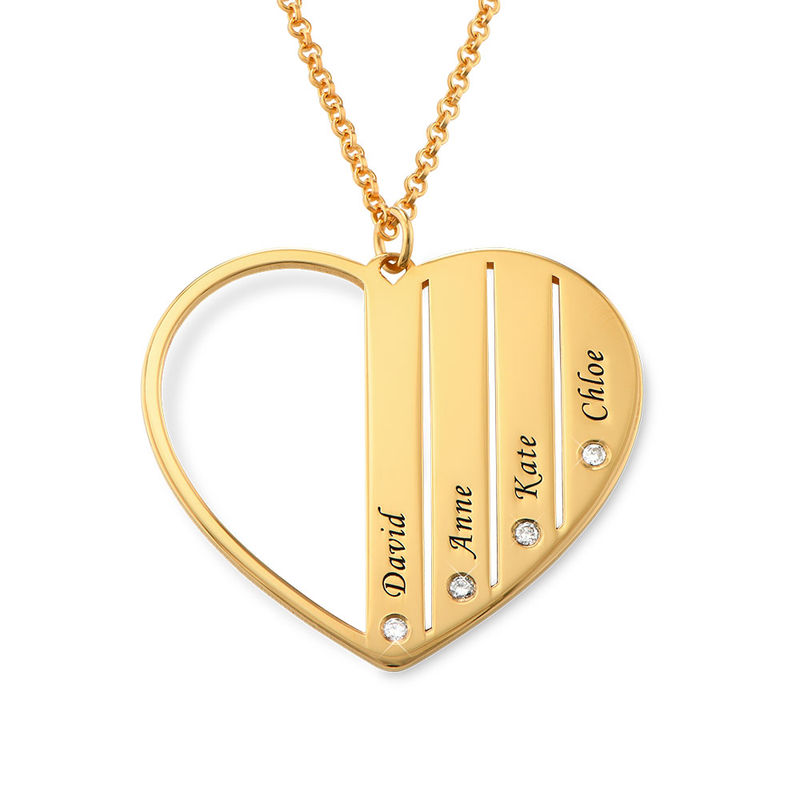Mor-halskæde med diamanter i guld vermeil