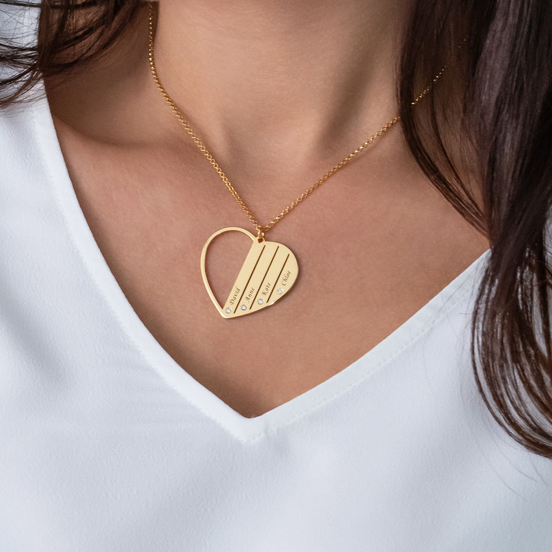 Mor-halskæde med diamanter i guld vermeil - 3