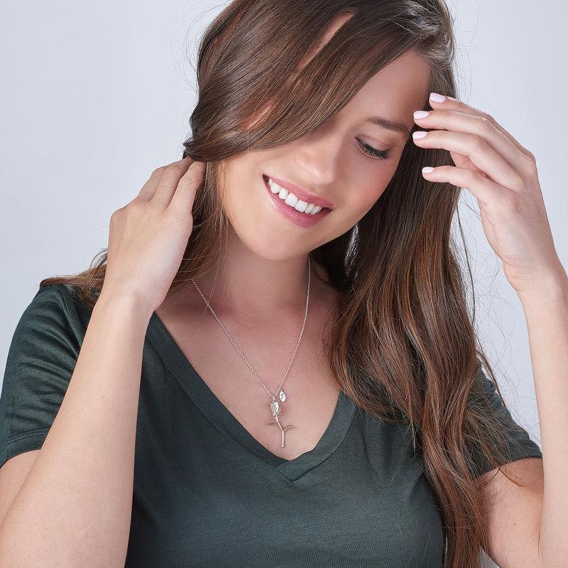 Rose halskæde med bogstav vedhæng i sølv - 2