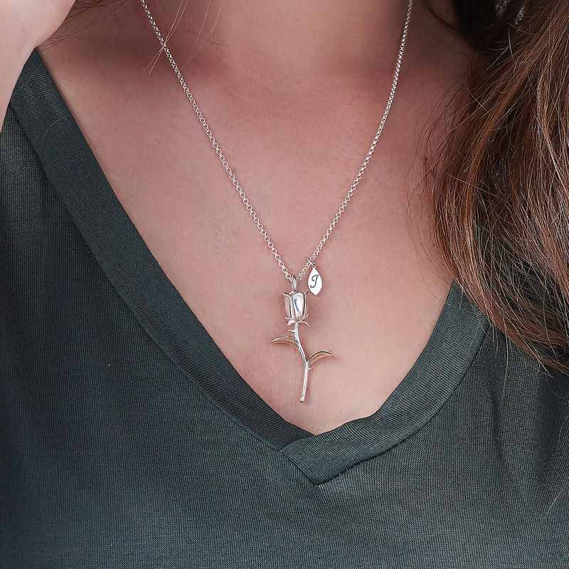 Rose halskæde med bogstav vedhæng i sølv - 3