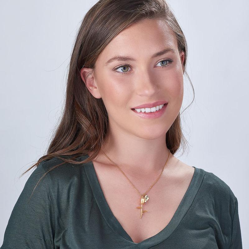 Rose halskæde med bogstav vedhæng i forgyldt sølv - 3