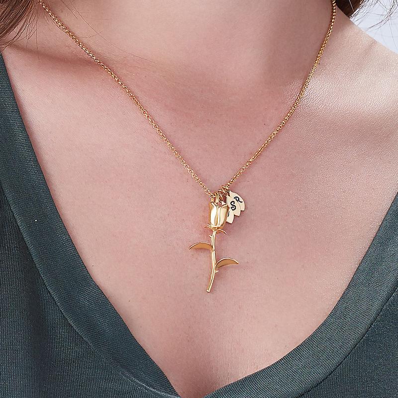 Rose halskæde med bogstav vedhæng i forgyldt sølv - 4
