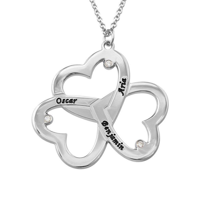 Triple-hjertesmykke til mor med diamant i sølv
