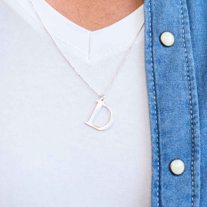 Bogstav halskæde til mænd i sterlingsølv - 5