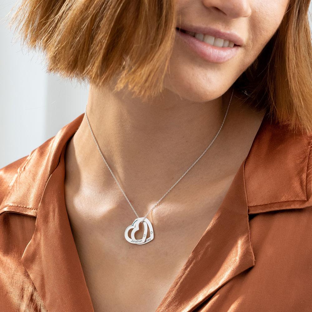 Sammenflettet hjerte halskæde i sterling sølv med diamanter - 2