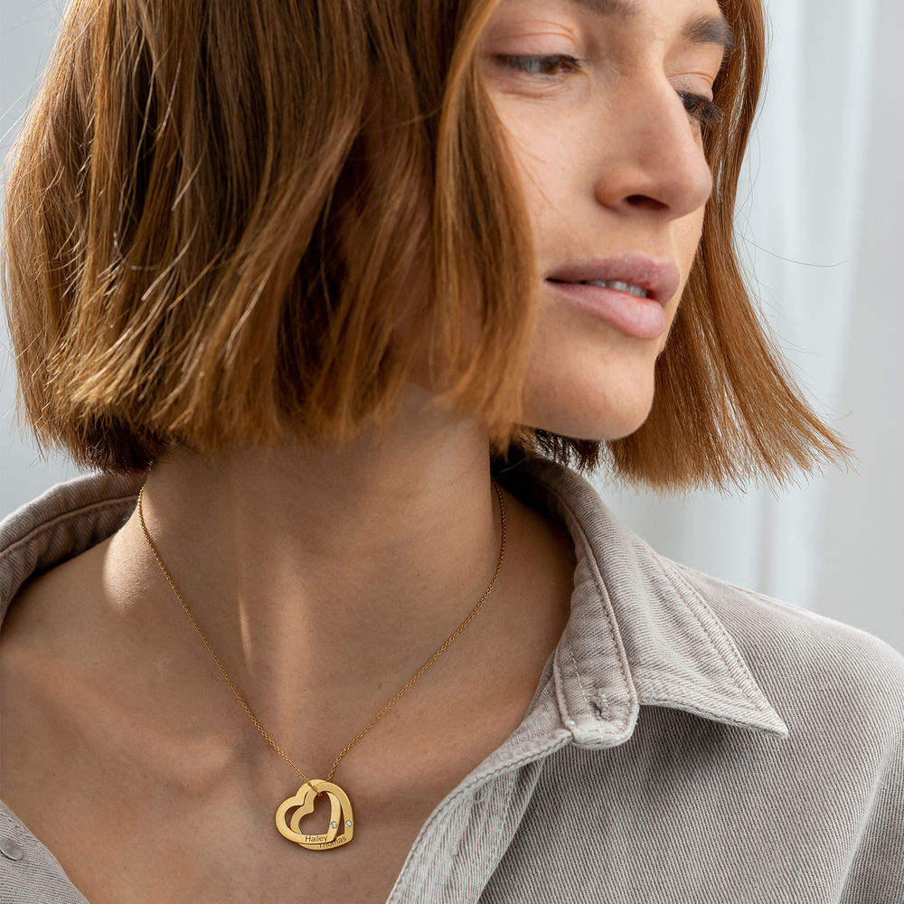 Sammenflettet hjerte halskæde i guld vermeil med diamanter - 1