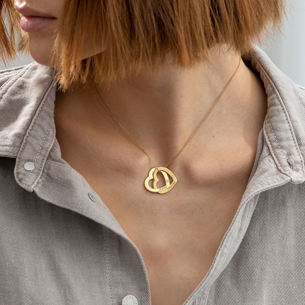 Sammenflettet hjerte halskæde i guld vermeil med diamanter - 2