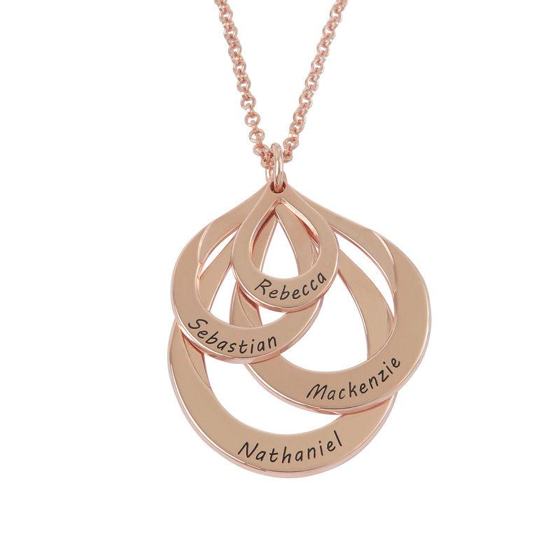 Familie halskæde med gravering og fire dråber i rosaforgyldt sølv - 1