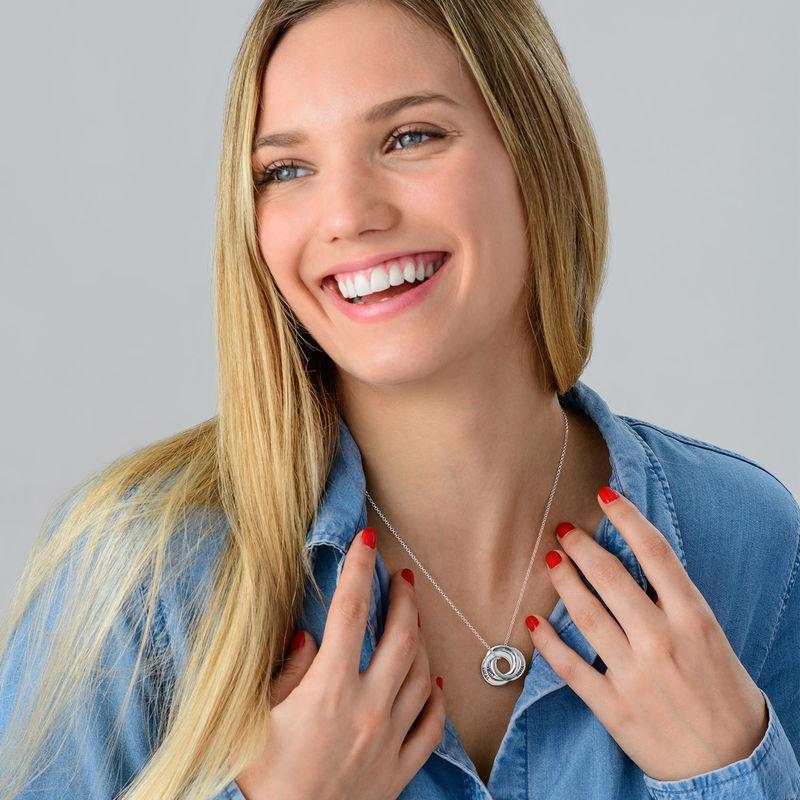 Russisk ring halskæde i sølv - 3D kurvet design - 4
