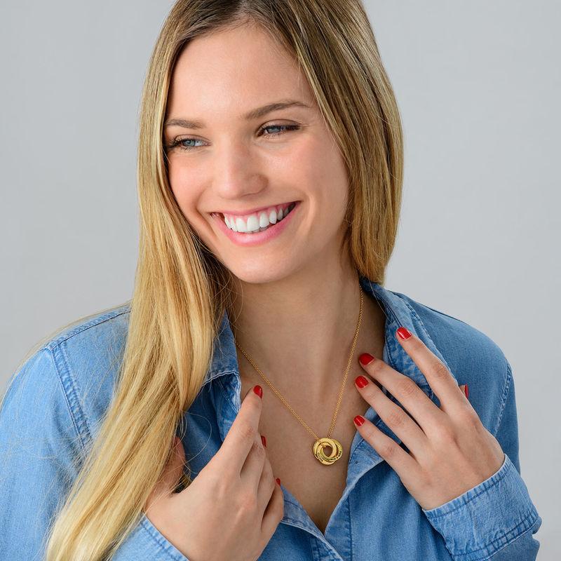 Russisk ring halskæde i forgyldt sølv - 3D kurvet design - 3