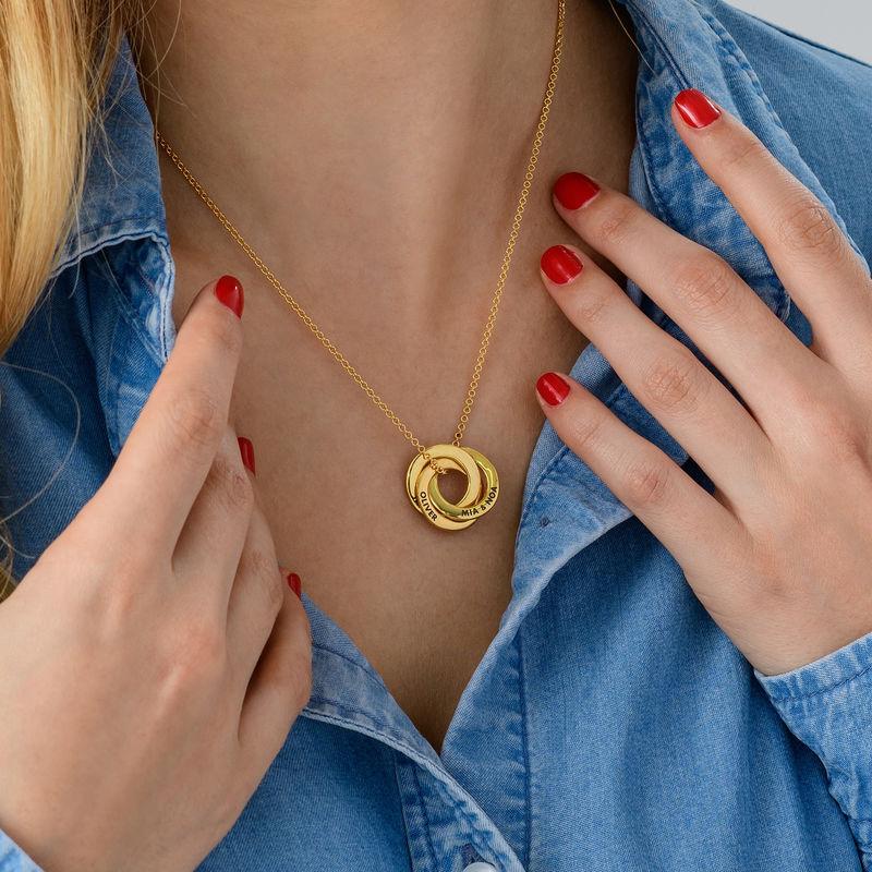 Russisk ring halskæde i forgyldt sølv - 3D kurvet design - 4