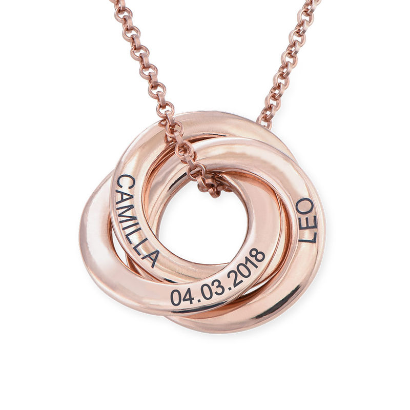 Russisk ring halskæde i rosaforgyldt sølv - 3D kurvet design - 1