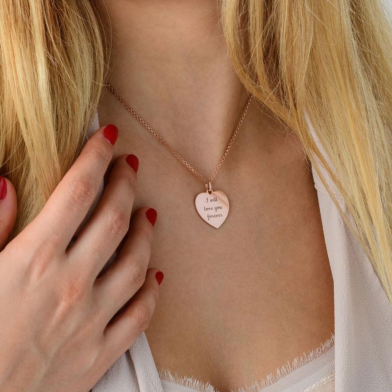 Hjertehalskæde i rosaforgyldt sølv - 3