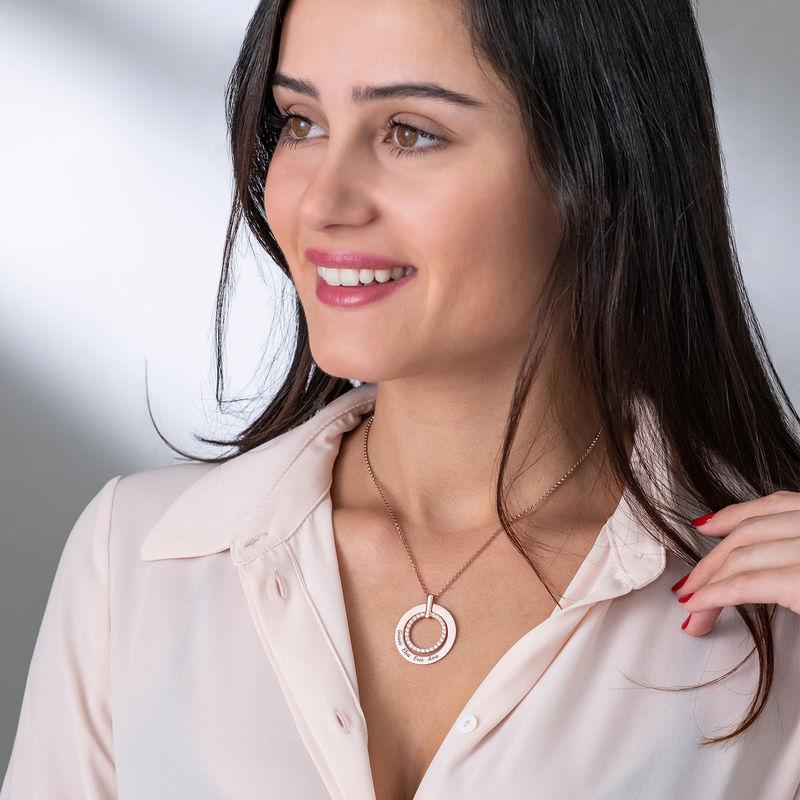 Rund halskæde med indgravering i rosaforgyldt sølv - 2