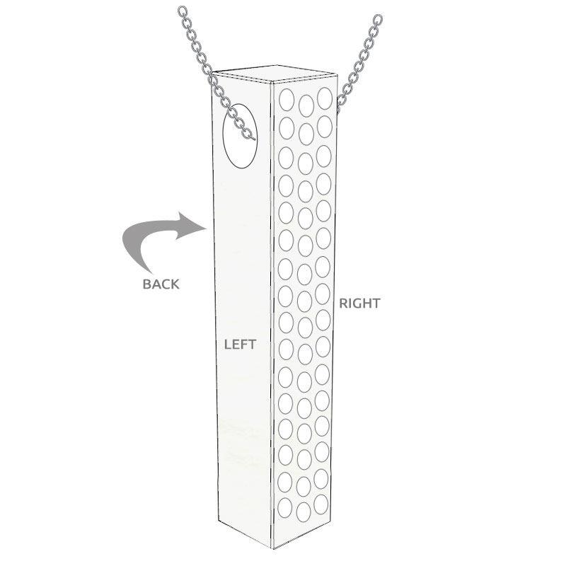 Vertikal 3D stavhalskæde med cubic zirconia i sølv - 5