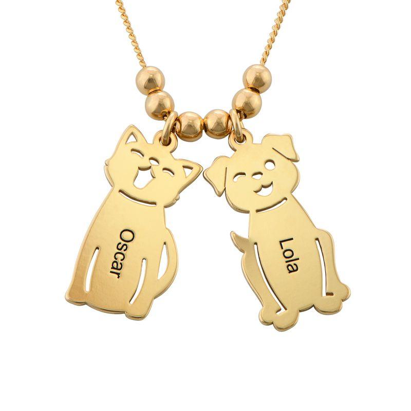 Halskæde med graverede børne-charms og kat og hund i forgyldt sølv