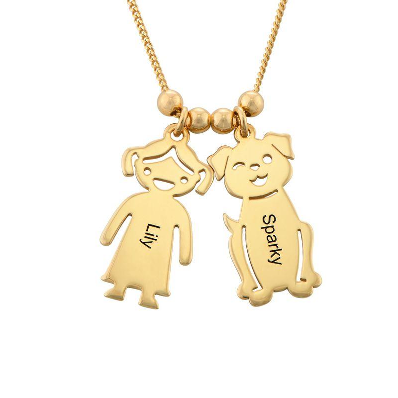 Halskæde med graverede børne-charms og kat og hund i forgyldt sølv - 1