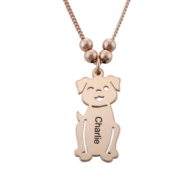 Halskæde med graverede børne-charms og kat og hund i rosaforgyldt sølv - 3