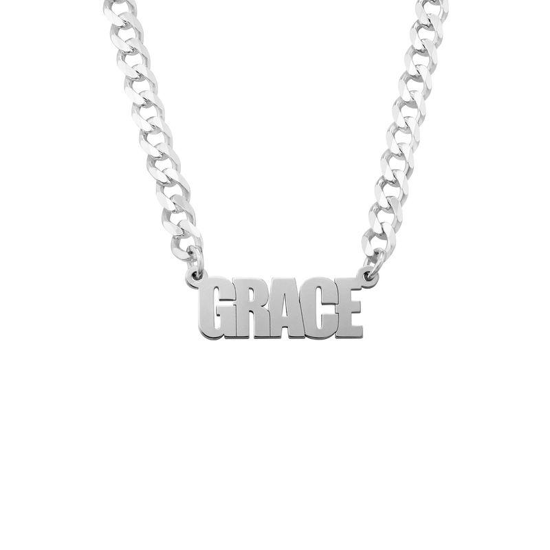 Navnehalskæde med kraftig kæde i sølv