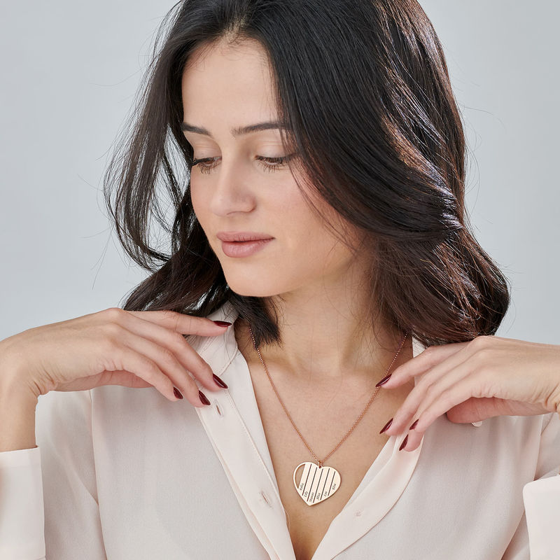 Mor halskæde med hjerte i rosaforgyldt - 2