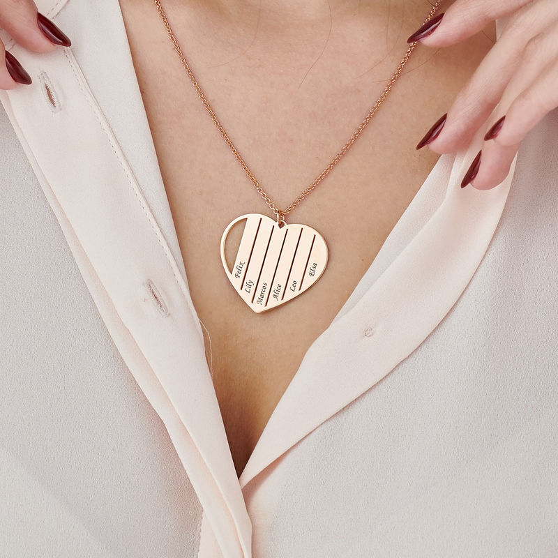 Mor halskæde med hjerte i rosaforgyldt - 3