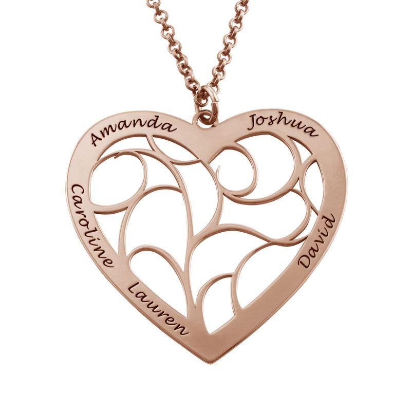Hjerteformet livets træ halskæde i rosaforgyldt sølv