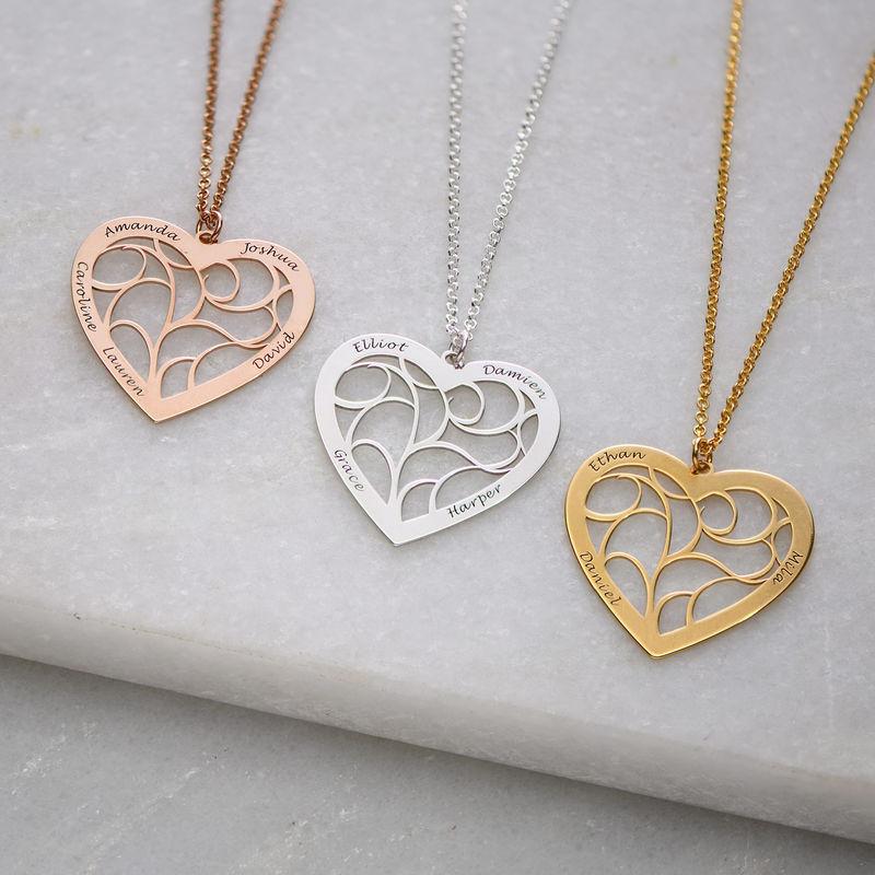 Hjerteformet livets træ halskæde i rosaforgyldt sølv - 1