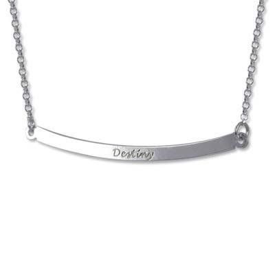Personlig halssmykke med vandret sølvstav