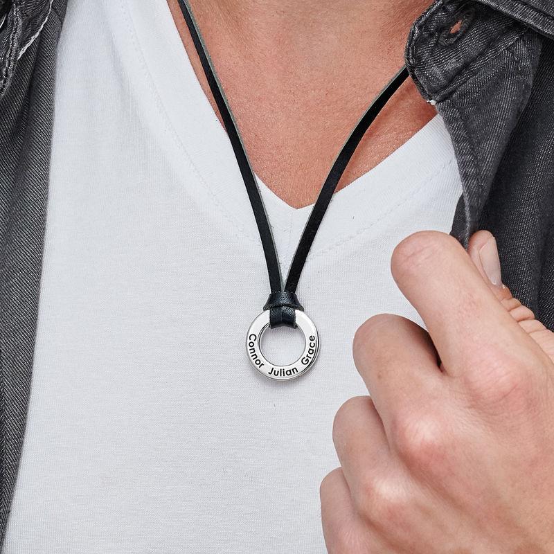 Rund halskæde til mænd med lædersnor - 2