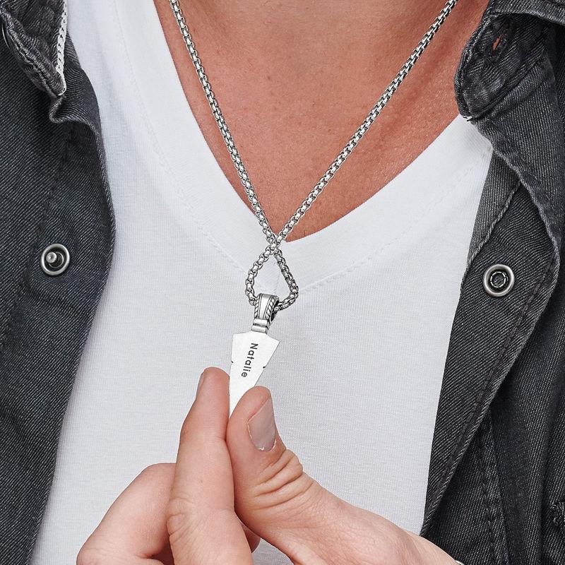 Pilespids halskæde til mænd i sølv - 4