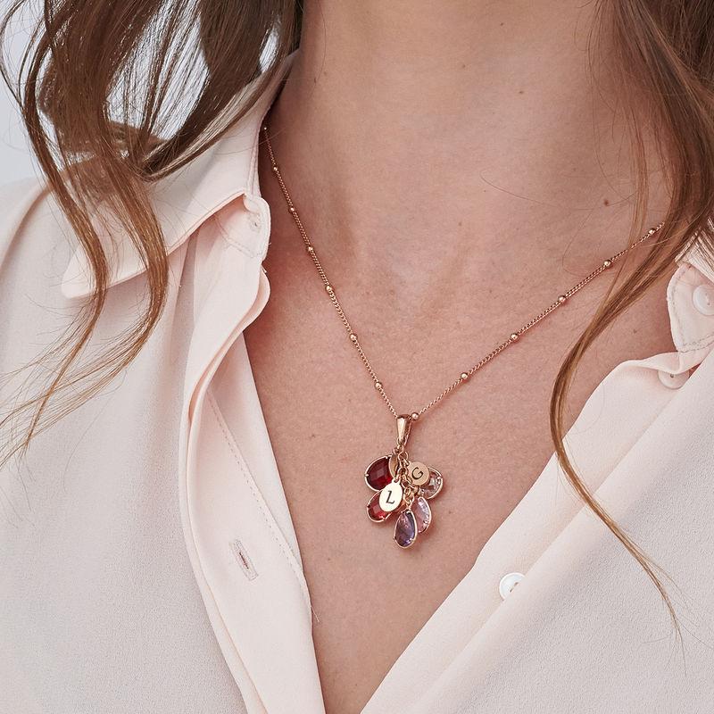 Månedssten halskæde til mor - rosaforgyldt - 3