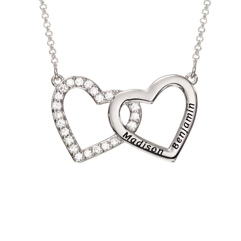Hjertehalskæde med gravering og 2 hjerter - sølv