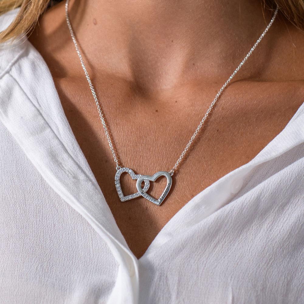 Hjertehalskæde med gravering og 2 hjerter - sølv - 1