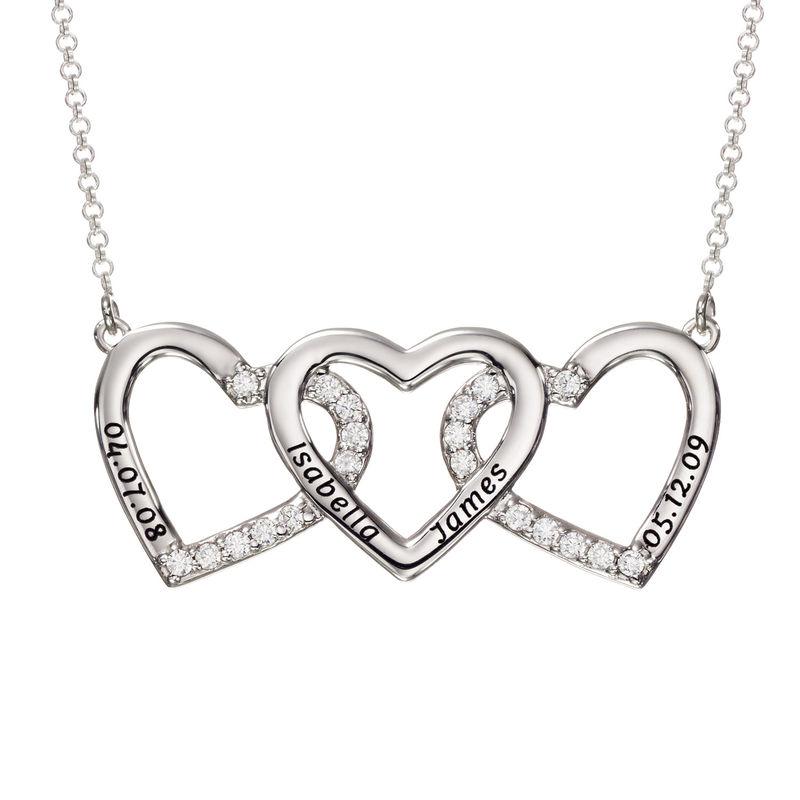 Hjertehalskæde med gravering og 3 hjerter i sølv
