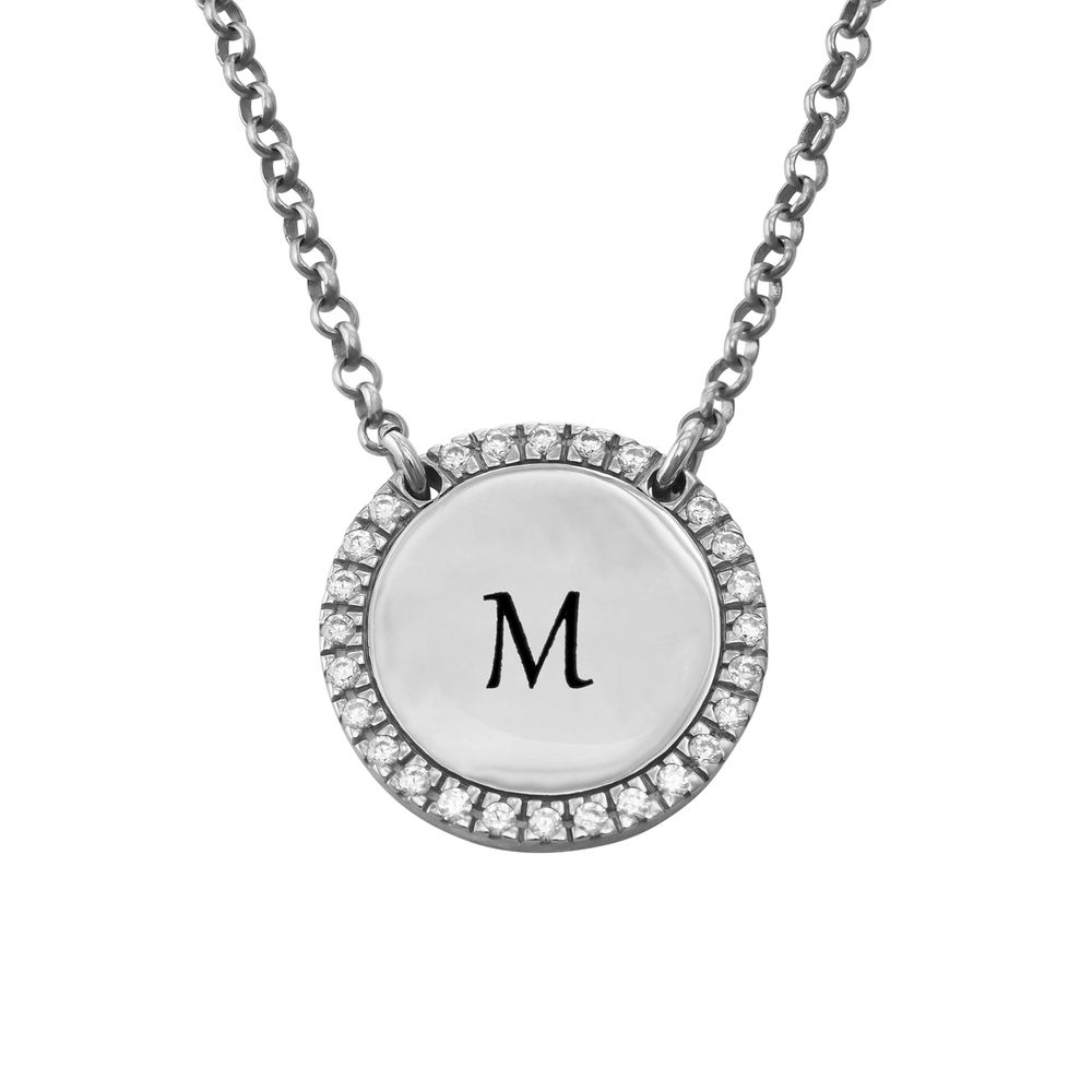 Personlig Halskæde med Cirkel og Zirconia i sølv