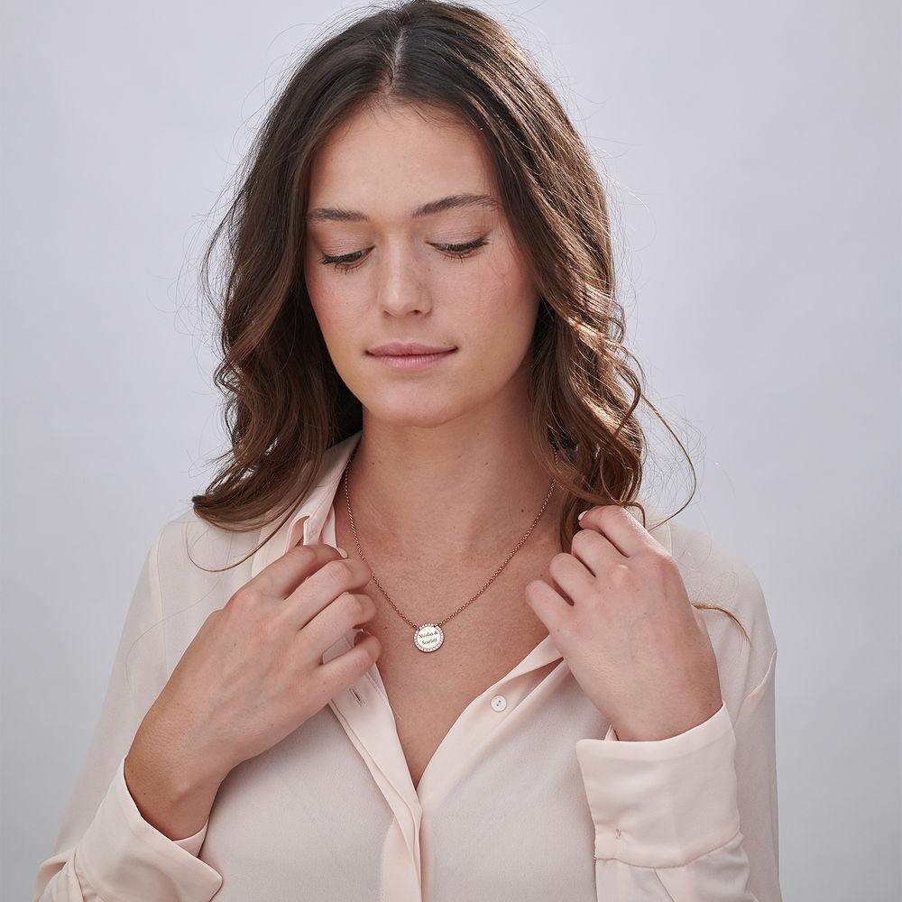 Personlig Halskæde med Cirkel og Zirconia Sten - Rosaforgyldt - 3