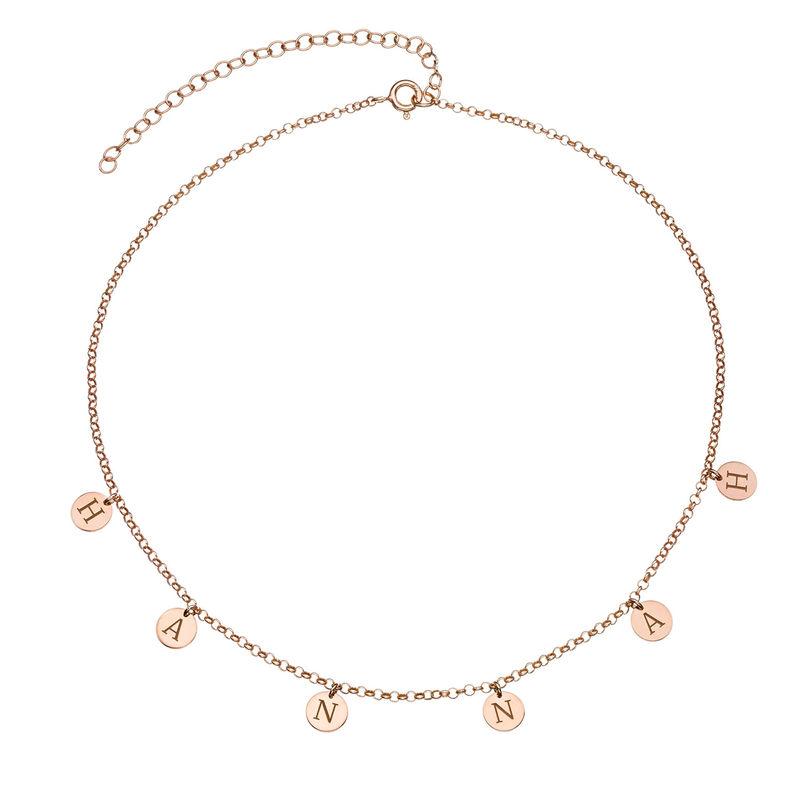 Choker halskæde med bogstaver i rosaforgyldt sterlingsølv - 1