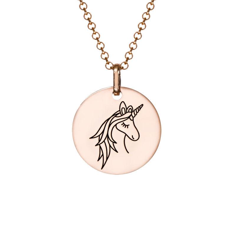 Enhjørning Halskæde i rosaforgyldt sølv